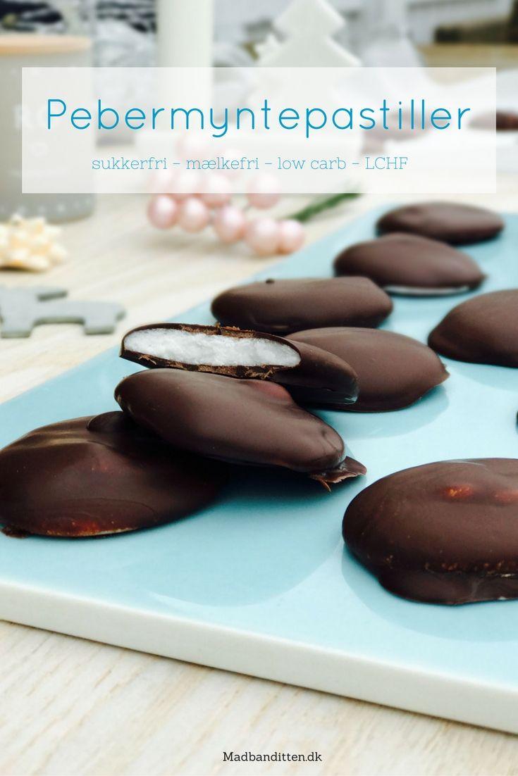 Pebermyntepastiller med chokoladeovertræk - sukkerfri, mælkefri, low carb, LCHF, vegan, paleo. Opskrift her: