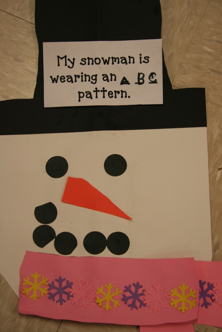 So going to do this lesson. Children are given the parts and have to put the snowman together the create a pattern on his scarf.
