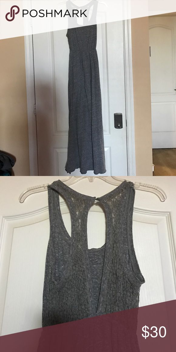 Xsm grey maxi dress Extra small grey maxi Dress with open back & lace details Hollister Dresses Maxi