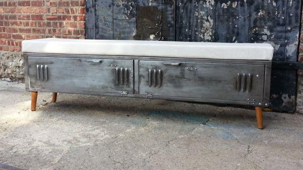 Vintage Brushed Steel Locker Storage Benches  —