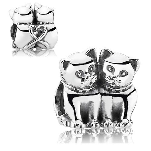 "PANDORA Sterling Silver ""Purrfect Together"" Charm"