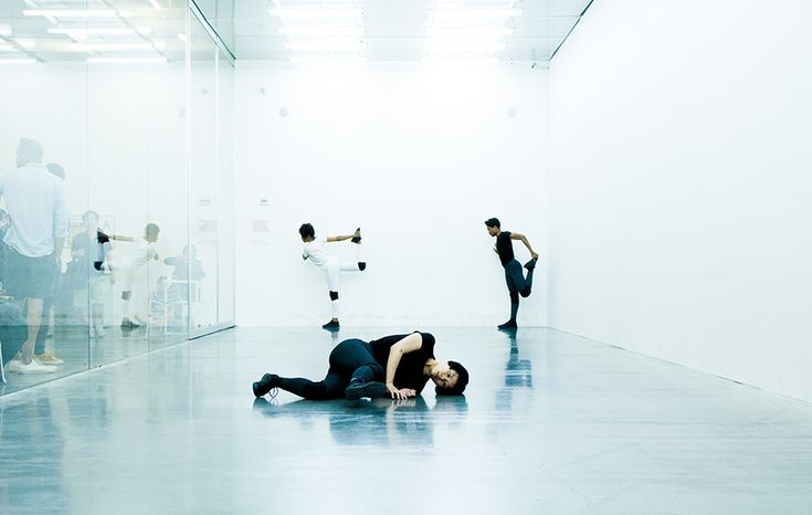 "#Mousse61 #MousseMagazine Cally Spooner, On False Tears and Outsourcing – dancers responsible for delivering self-organized efforts to resolve difficult and time-consuming issues ""go the distance"" across multiple overlapping phases using appropriated competitive strategies and appropriated intimate gestures, 2016, performance at New Museum, New York, 2016. Courtesy: the artist; New Museum, New York; gb agency, Paris; ZERO..., Milan. Photo: Jeremiah Wilson"