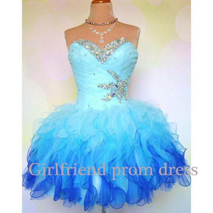 Sweetheart Princess Style Blue Tulle Short Prom by GirlsProms, $182.90