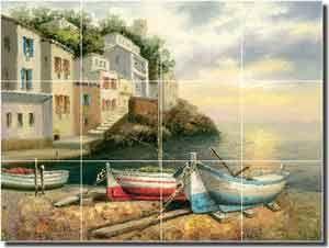 Village Boats by C. H. Ching - Mediterranean tile mural backsplash by ArtworkOnTile.com.