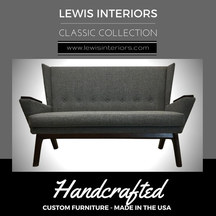 Lewis Interiors Midcentury Modern Handcrafted Loveseat: Choose your color and wood tone.  It's that easy.  Leave the fluffy couches & cookie cutter chairs to the rookies. www.lewisinteriors.com - Made in the USA, Custom Midcentury, Mid Century Modern, MCM, Vintage, Retro, Lounge Chair, Lounger, Sofa, Couch, Wingback, Accent Chair, Upholstered, Tweed, Oak, Ottoman, Blue, Orange, White, Black, Green, Yellow, Gray