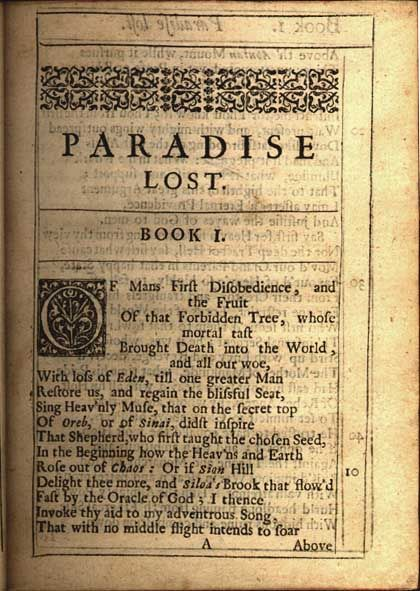 viα thefirstdisobedience: First page of Paradise Lost by John Milton.