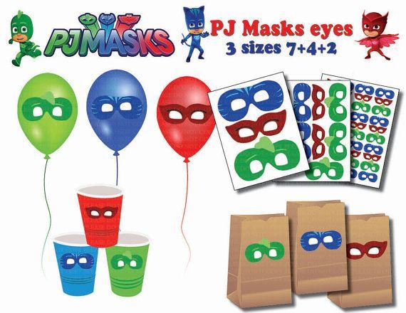 INSTANT DL Pj Masks EYES Stickers  centerpiece  Party by PartyJony