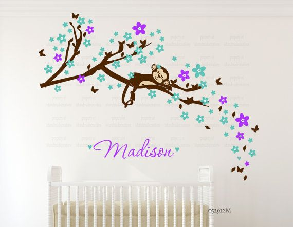 NIÑOS etiqueta de la pared flor de cerezo por ishandmadecreations
