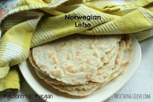 Norwegian Lefse | A gluten-free vegan recipe from These Things I love | Ingredients: 2 cups leftover prepared mashed potatoes (see notes), ¼ cup sorghum flour, 1 tablespoon tapioca starch, 1 tablespoon + 2 teaspoons brown rice flour, plus more for rolling, ¼ teaspoon guar gum or xanthan gum ~ Get the details on the blog.