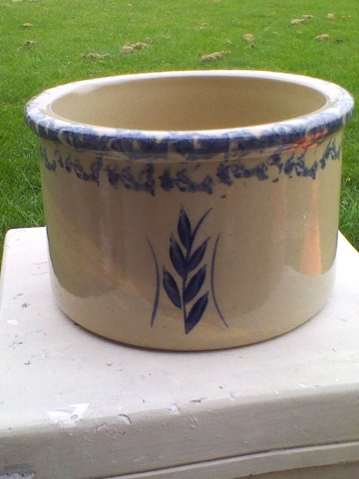 Vtg ROBINSON RANSBOTTOM 1 quart Low Jar Pottery Crock Roseville Ohio Free Ship! $16.99