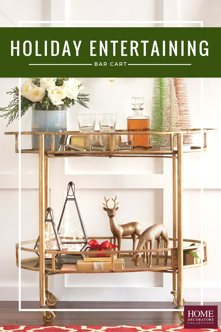 Major bar cart obsession here. The holidays are upon us and there's nothing better than hosting parties in the most stylish way possible. Our gold Eliza Bar Cart is so perfect. With two shelves, locking caster wheels and a unique oval shape, it's got the style and function you need. Make it the perfect place to serve drinks + apps and then dress it up with Christmas decorations when not in use. Enjoy hosting this season with this bar cart. Available at Home Decorators Collection.