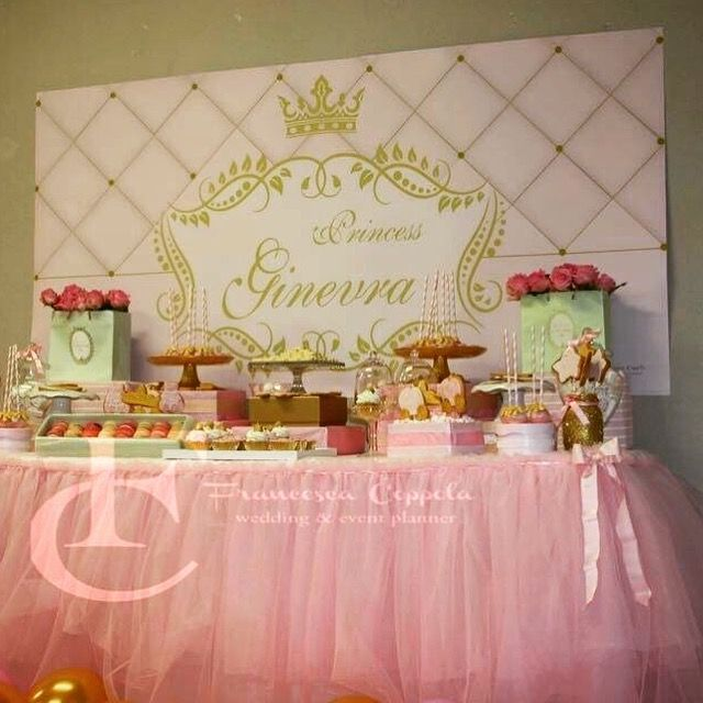 Gold and pink Princess party sweet table