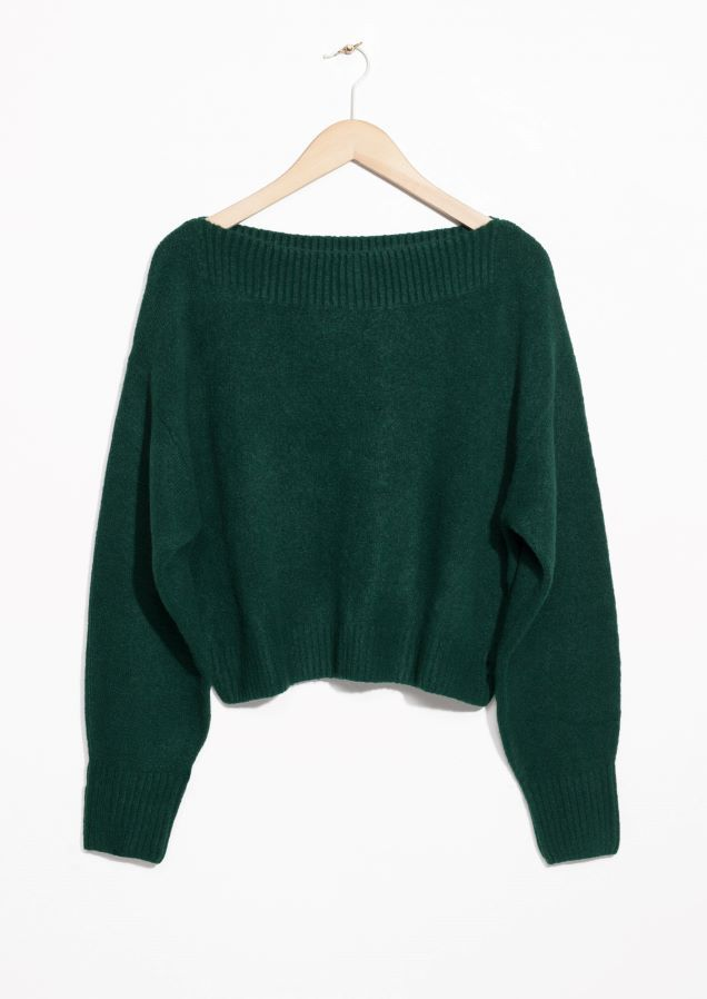 & Other Stories image 1 of Boatneck Sweater in Green