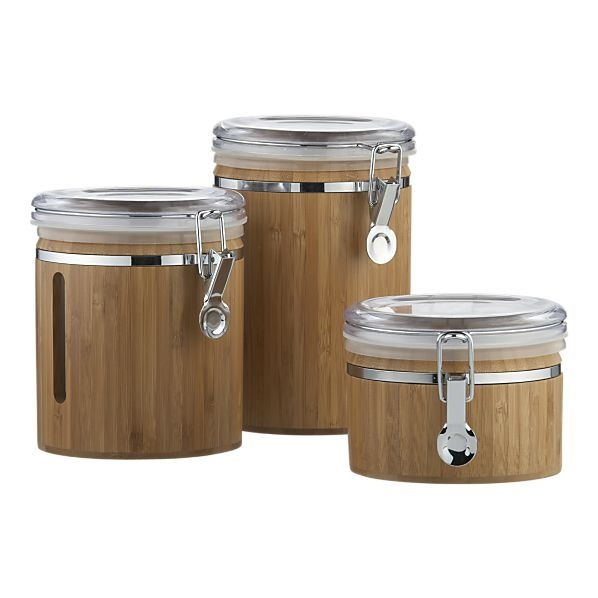 Merveilleux COFFEE Bamboo Clip Canisters   Contemporary   Food Containers And Storage    Crate