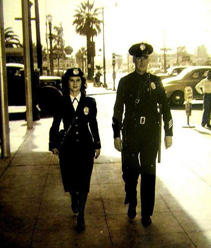 1940's Era ~ LAPD Policewoman & Officer on Foot Patrol.