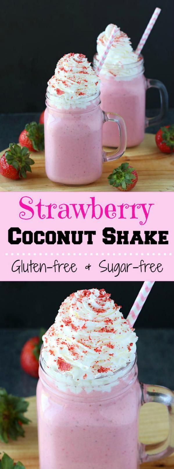 5-ingredient sweet and creamy Strawberry Coconut shake makes a delicious and satisfying breakfast.Gluten-free, sugar-free and can be vegan too!