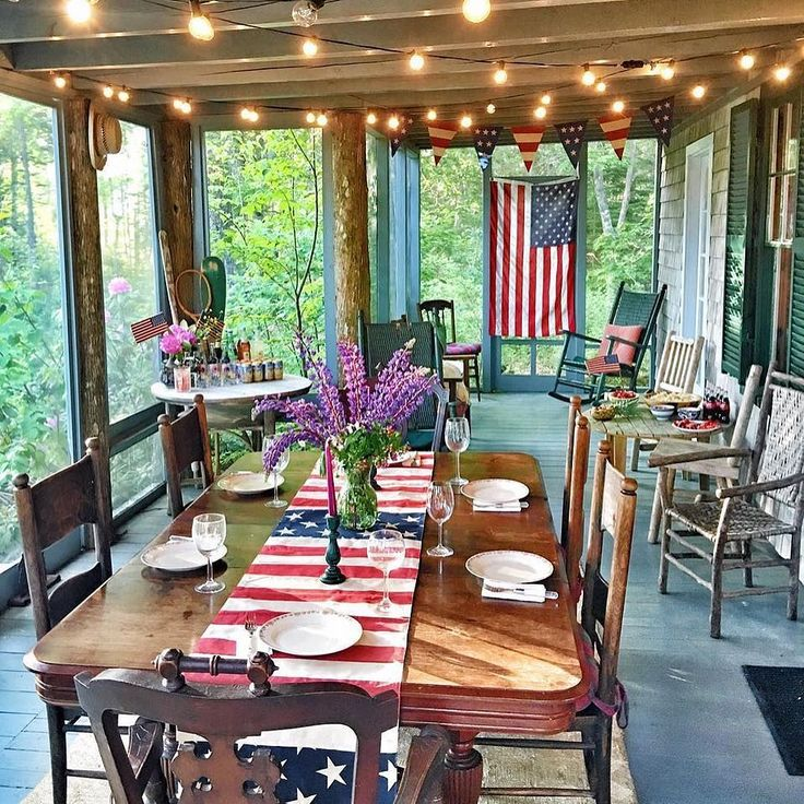 Need some inspiration for 4th of July?  Look no further than this patriotic tablescape from @sarahkjp.  Just with a few flag-inspired decorations, like our American Flag Table Runner, Sarah has turned her screen in patio into a celebration ready for fireworks and BBQ! #4thofjuly #independenceday #patriotic #mypotterybarn