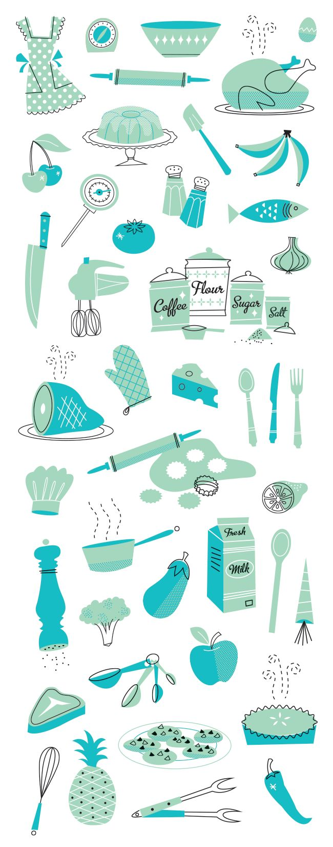 50's Cookbook Illustration Series by Brad Woodard