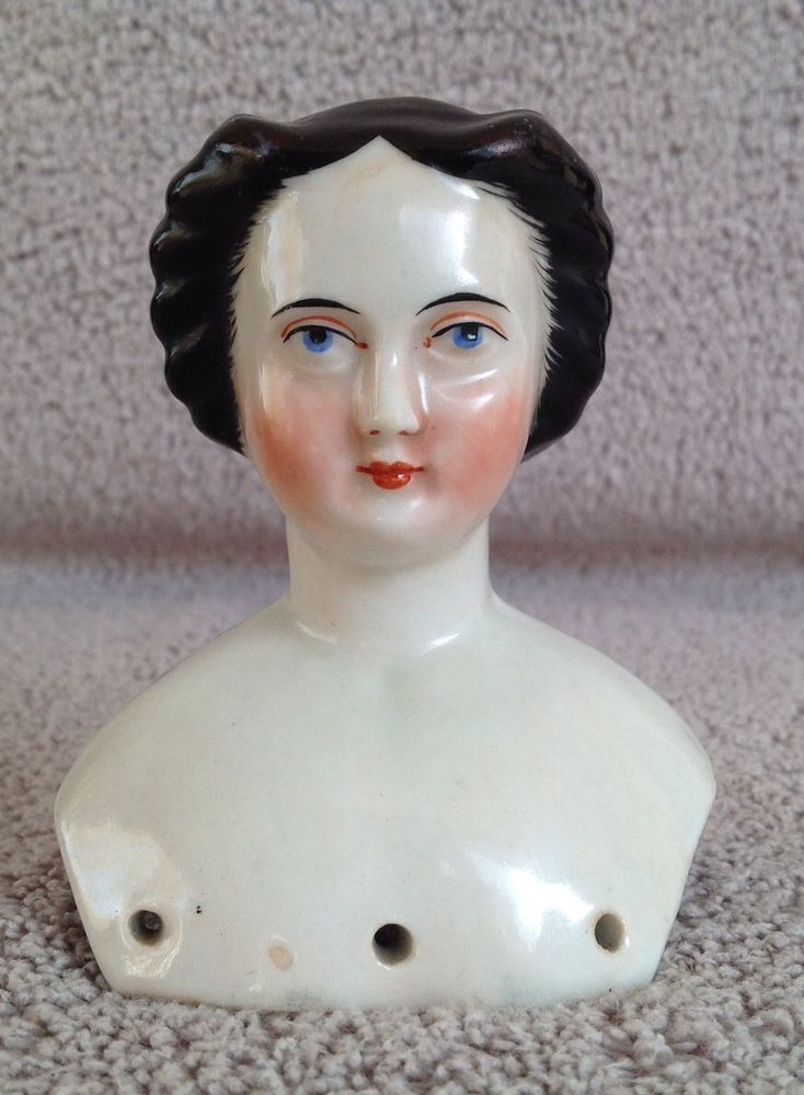 "Antique German c1865 ""Waterfall"" China Shoulder-Head Lady Doll Jenny Lind Look"