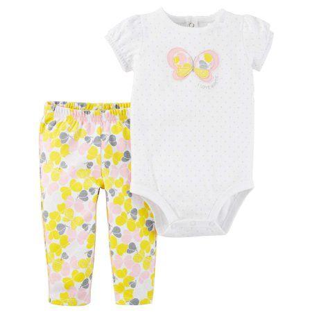 57f13ed9681 Child of Mine by Carter s Baby Girl Short Sleeve Bodysuit   Pants ...