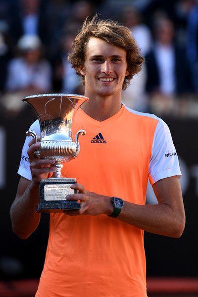 """"" Alexander Zverev defeats Novak Djokovic at the Internazionali BNL d'Italia 64 63 "" """