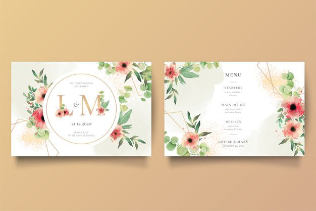 Romantic Wedding Invitation And Menu Template Free Vector Freepik Freevector Frame Convites De Casamento Romanticos Convite De Casamento Modelos De Menu