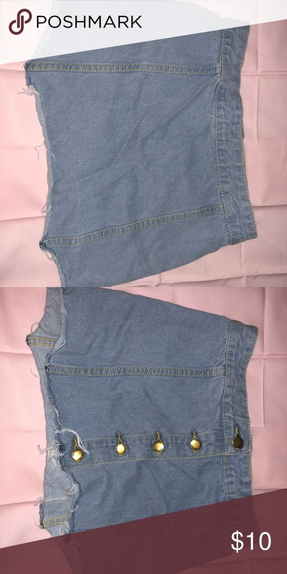 Denim button up skirt Ripped denim skirt Short and sexy  In style right now  Cheap price  Denim Skirts Mini