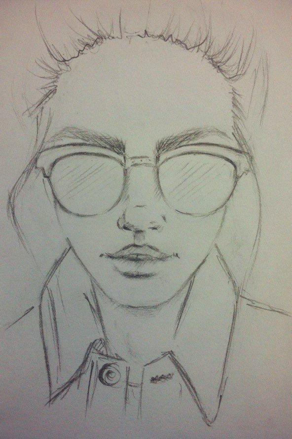 девушка, очки, скетч, простой карандаш