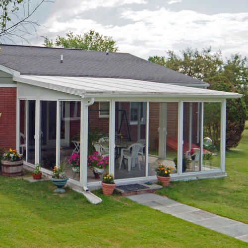 Easyroom 14 39 x 16 39 sloped roof single pane glass sunroom for 16 pane window