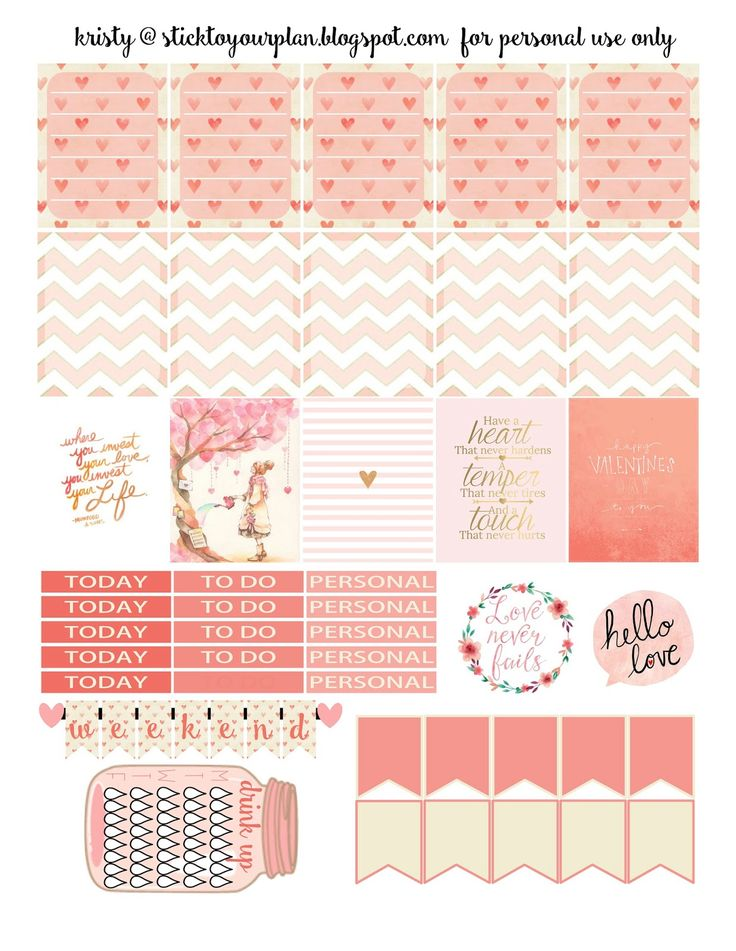 Free Week of Love Planner Stickers   Stick to Your Plan {Silhouette and PDF files}