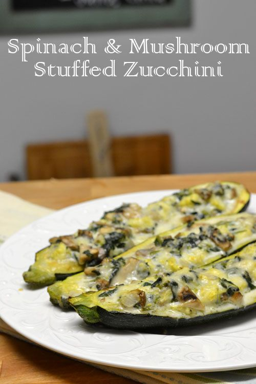 Spinach and Mushroom Stuffed Zucchini are a filling, low calorie dinner that is loaded with good for you vegetables.