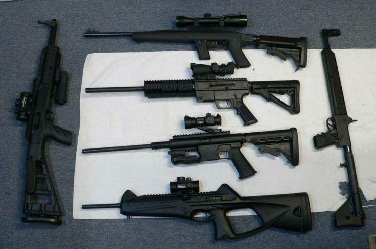 (T to B) Marlin Camp Carbine (Choate Stock), Just Right Carbine, TNW Aero Survival Rifle, Beretta Storm Carbine - (L) Hi-Point TS carbine, (R) early Kel-Tec Sub9 (not newer plastic receiver Sub2000)