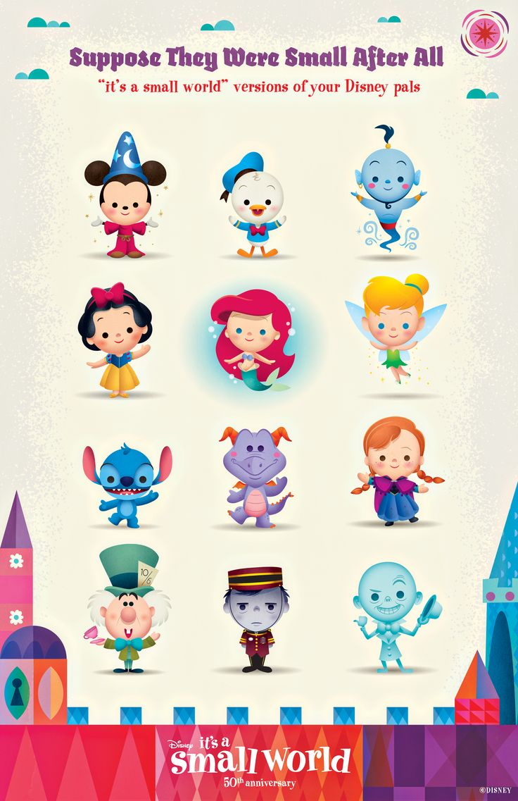 "Disney characters as ""it's a small world"" dolls! Sorcerer Mickey, Donald Duck, Genie, Snow White, The Little Mermaid, Tinker Bell, Stitch, Figment, Princess Anna from Frozen, the Mad Hatter, Tower of Terror, The Haunted Mansion!"