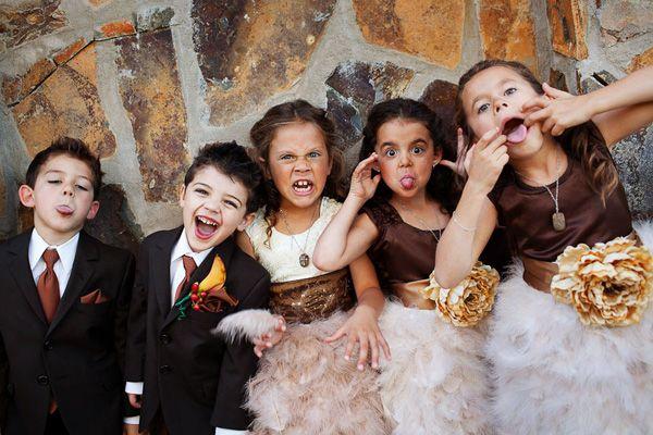 kids being silly at wedding, photo by Mark  Janzen Photography | via junebugweddings.com