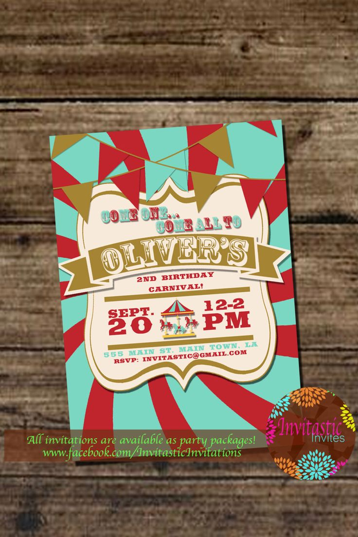 Carnival Birthday Party Invitation - Kids Circus Party, Adult Circus or Carnival (Under the Big Top) Event - Printable Invitation by InvitasticInvites on Etsy https://www.etsy.com/listing/200321958/carnival-birthday-party-invitation-kids