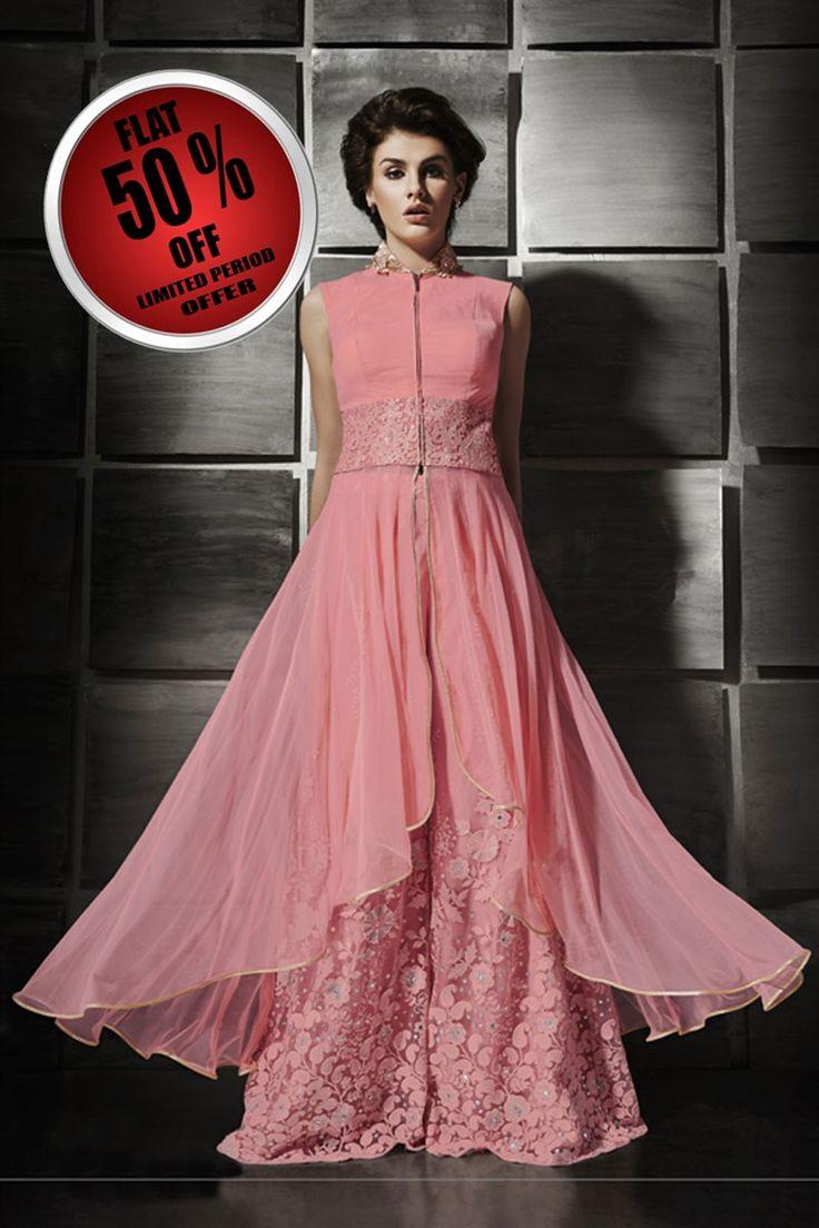 Pink Georgette Palazzo Pant Suit Vastras I Pinterest