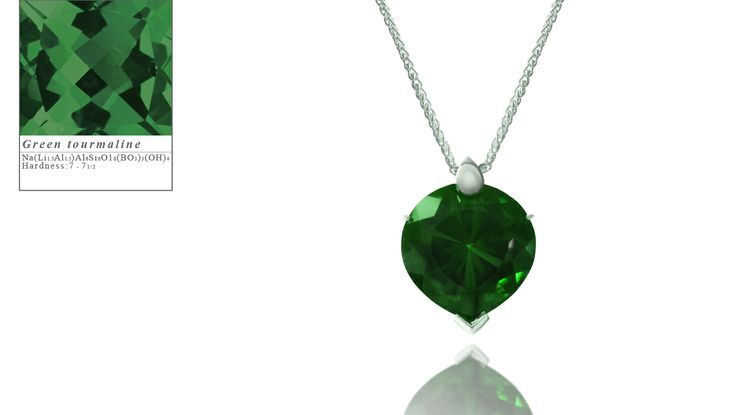 Simon Pure's Bubble Heart pendant set with a green tourmaline.