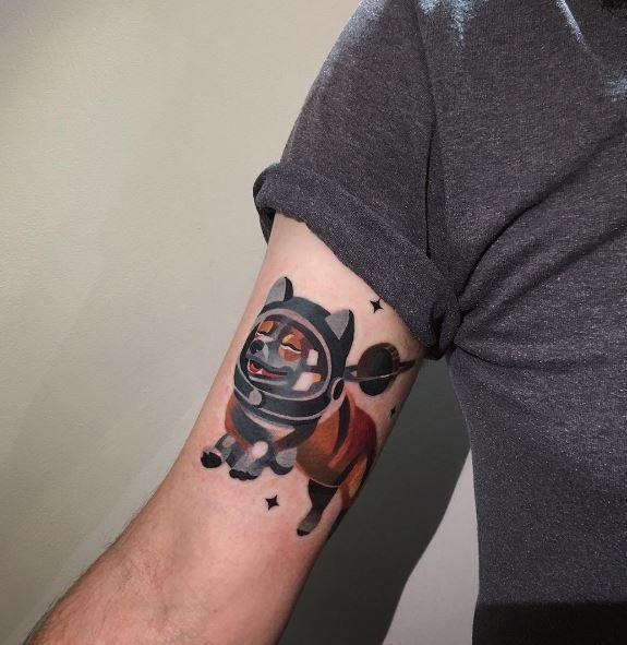 Astronaut Corgi Tattoo
