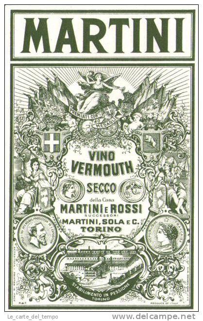Etichetta (vini-liquori) Vino Vermouth Secco MARTINI Torino Primi'900