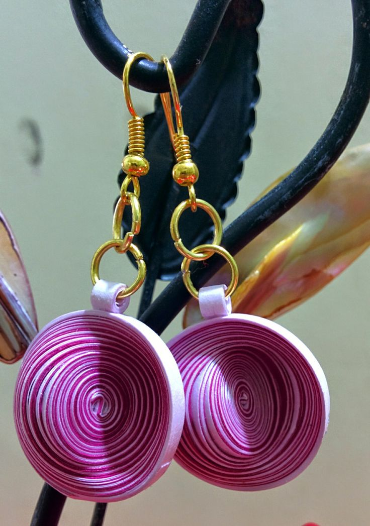 Quilling Twin Shaded Purple Earrings