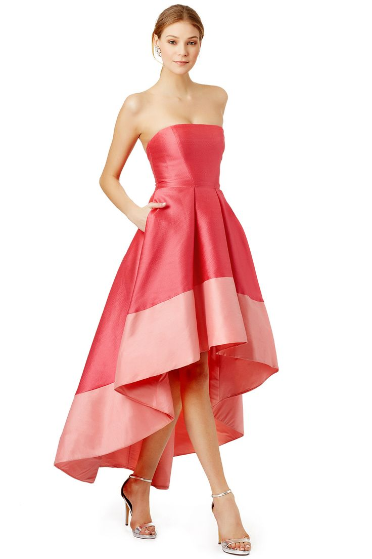 Hi-low hem gown in bright and pale pink // Gladiolus Dress by Monique Lhuillier
