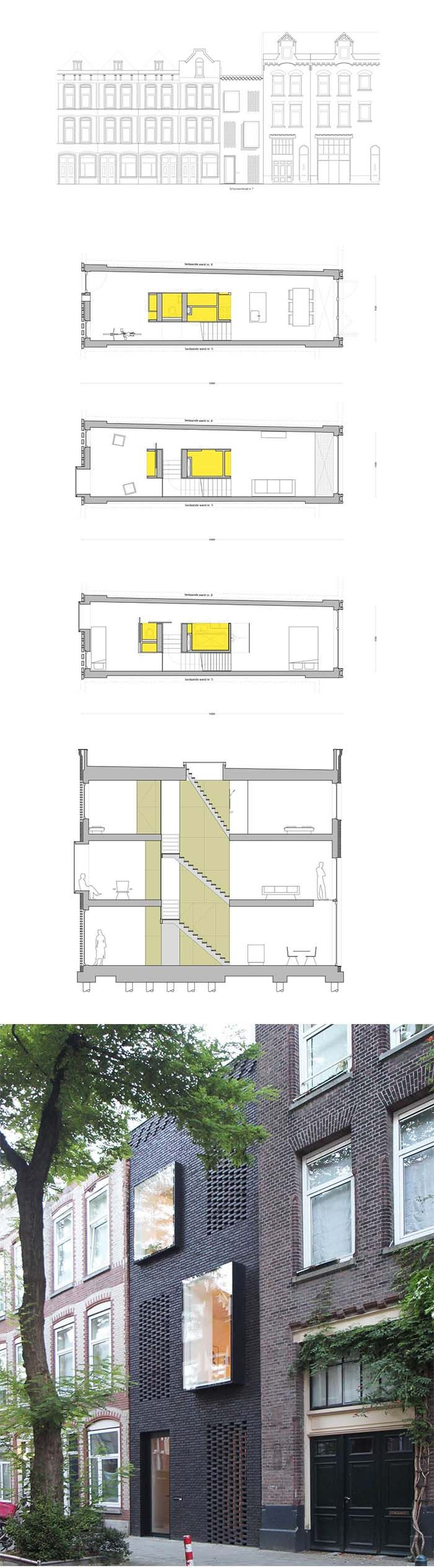 Facade and plans of project Contemporary House
