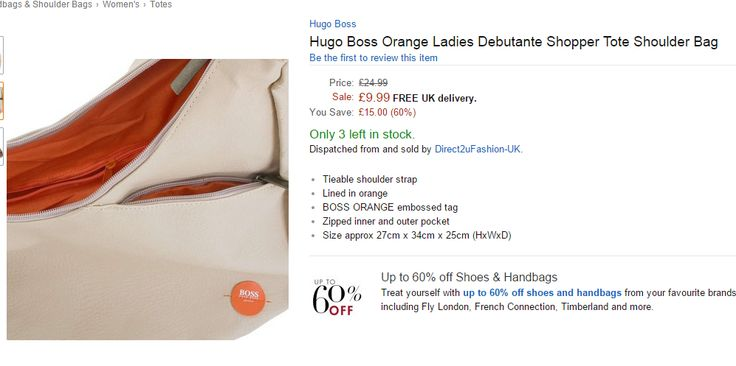 Hugo Boss Orange Ladies Debutante Shopper Tote Shoulder Bag was £24.99 NOW £9.99  DELIVERY