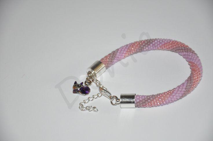 Bead Crochet Bracelet - violet and pink