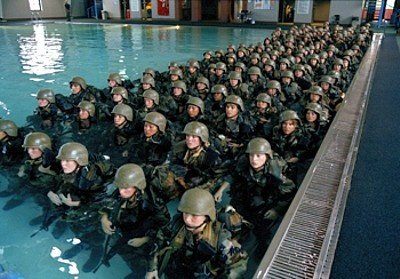 USMC Parris Island---training for everything, even marching thru a river with-- BOOTS & Us, FULL PACK, WEAPONS & all. Ooh Rah
