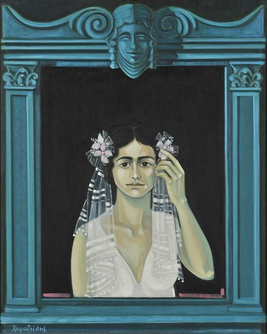 Χαρατσίδης Σάββας (1925 - 1994) Επιτύμβιο για νέο κορίτσι Λάδι σε ύφασμα