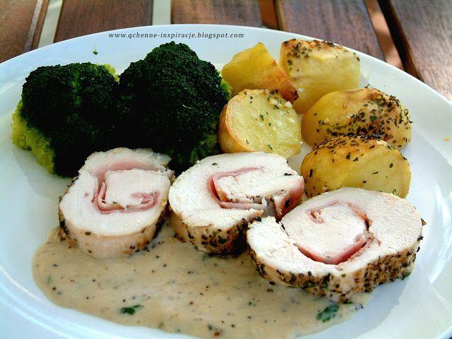 Qchenne-Inspiracje! FIT blog o zdrowym stylu życia i zdrowym odżywianiu. Kaloryczność potraw. : Soczysta, aromatyczna rolada z kurczaka z sosem z kolorowego pieprzu. Na uroczysty obiad i wyjątkowe okazje.