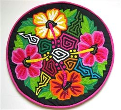 Colorful Mola Pillow Cover with Tropical Flower Design. Handstitched by the Kuna Indians in Panama.