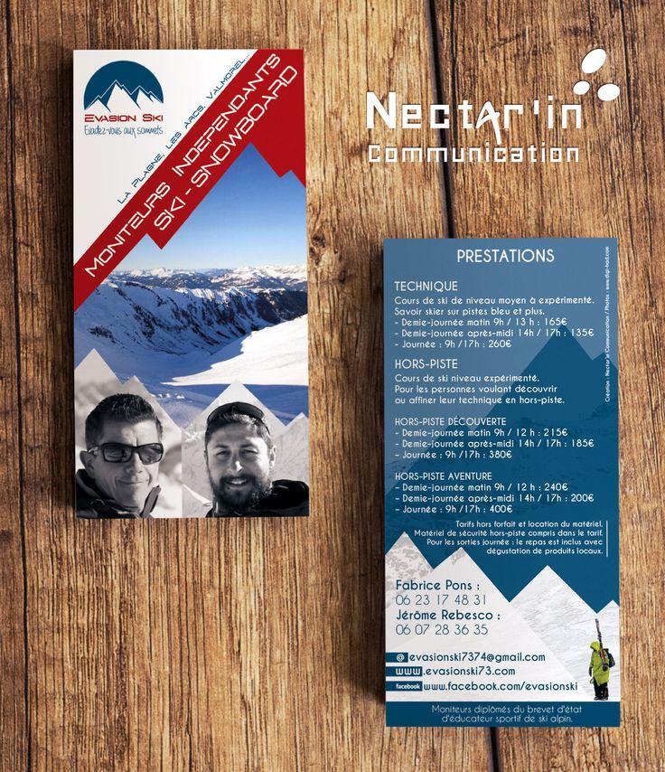 Flyer pour Evasion Ski.  Création : Nectar'In Communication