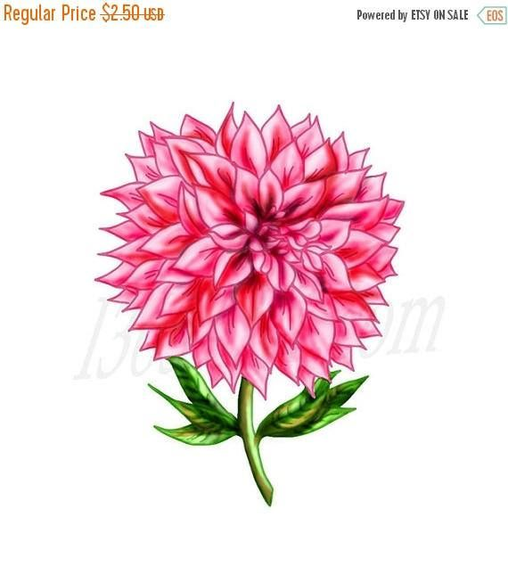 Beautiful Pink Dahlia Flower Clip Art Scrapbooking Party